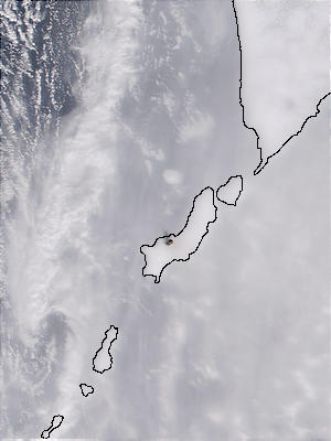 Ash plume rising from Chikurachki Volcano, Kuril Islands, Russia - related image preview