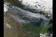 Smoke from fires in Alberta and Saskatchewan over Manitoba, Ontario, and Minnesota