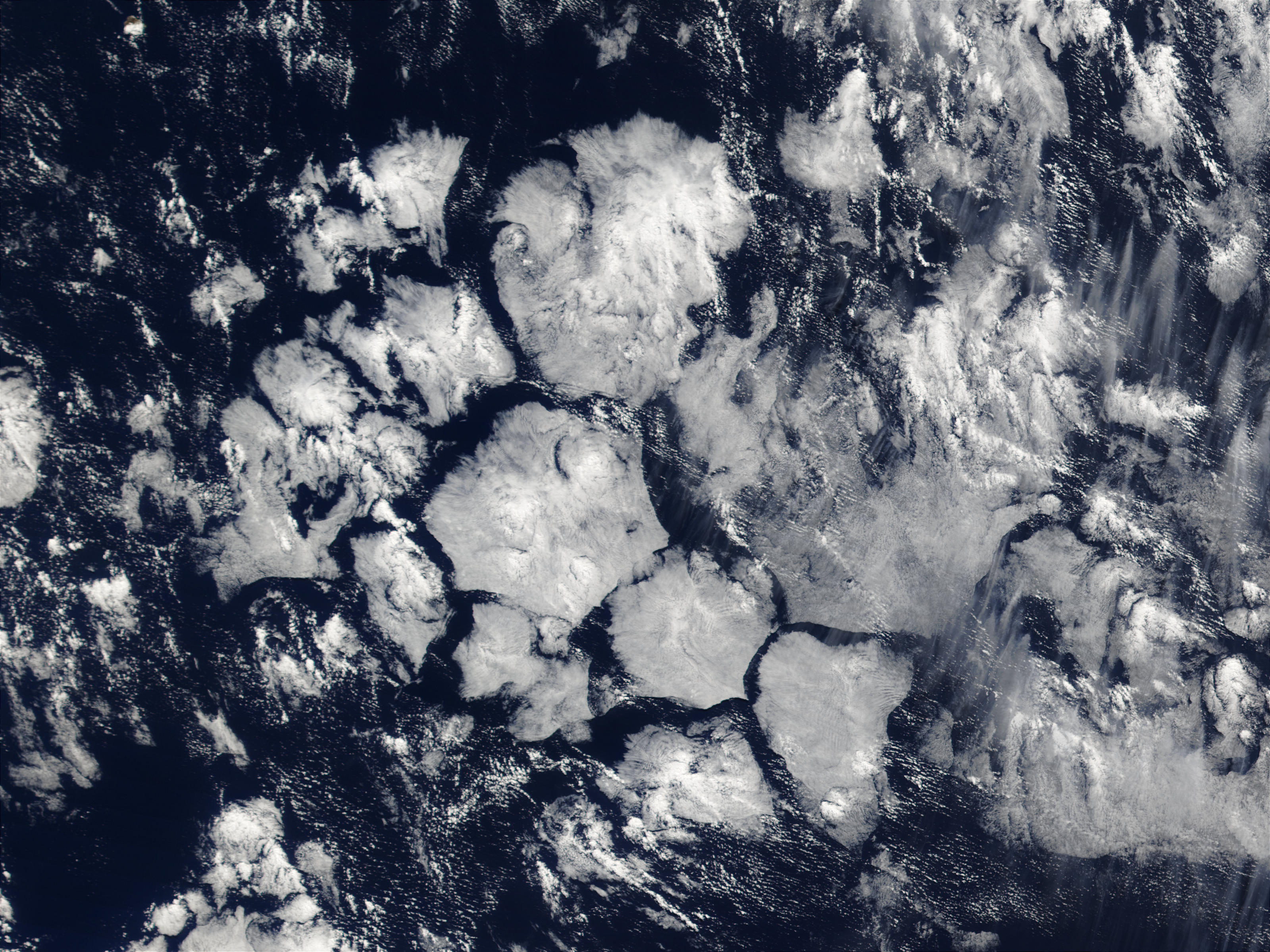 Hexagonal cloud cells in South Atlantic Ocean - related image preview