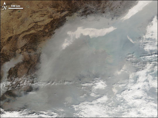 Thick Smog over Beijing, China