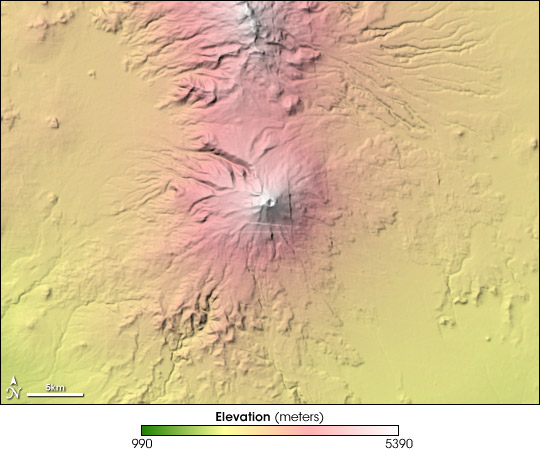 Topography of Popocatépetl