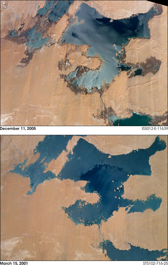 Decreasing Water Levels in Egypt's Toshka Lakes