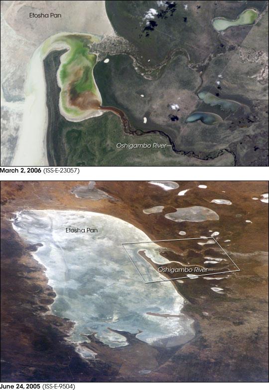 Oshigambo River and Etosha Pan, Namibia