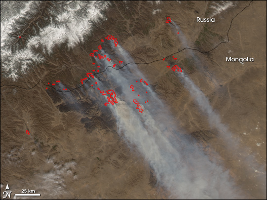 Fires Along the Border of Mongolia and Russia