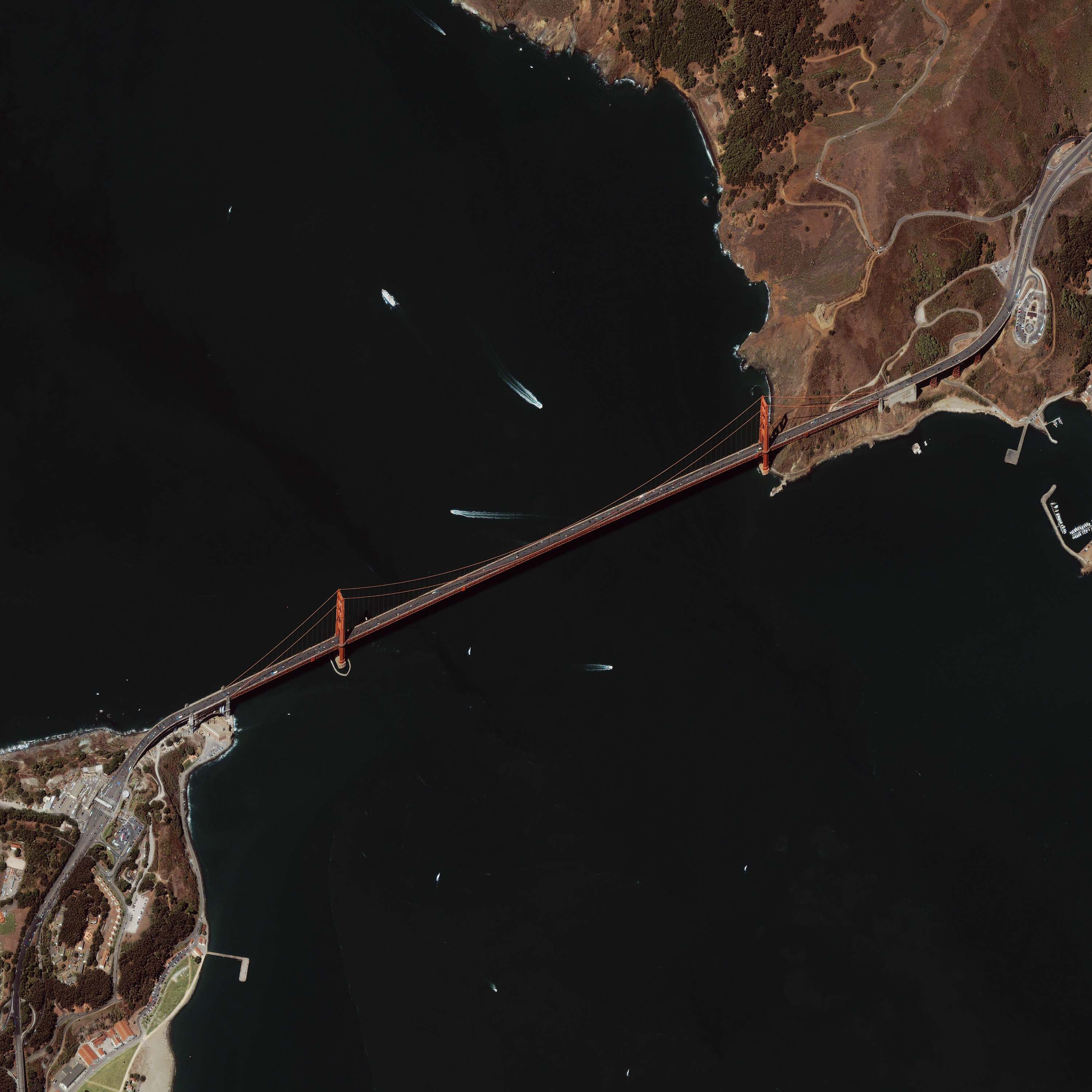 Image result for satellite image of san francisco golden bridge