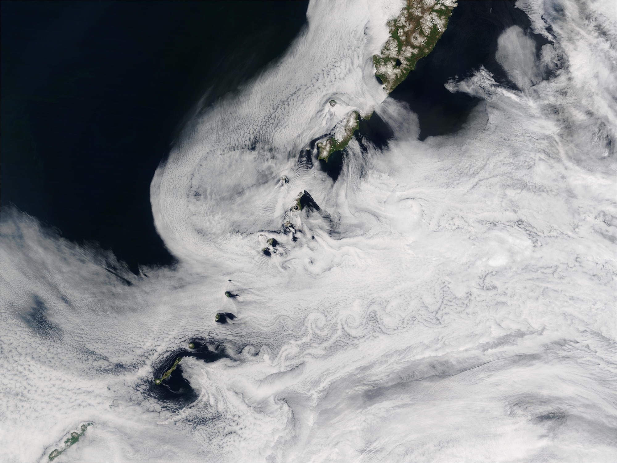 Vortex street off Kuril Islands, Russia - related image preview