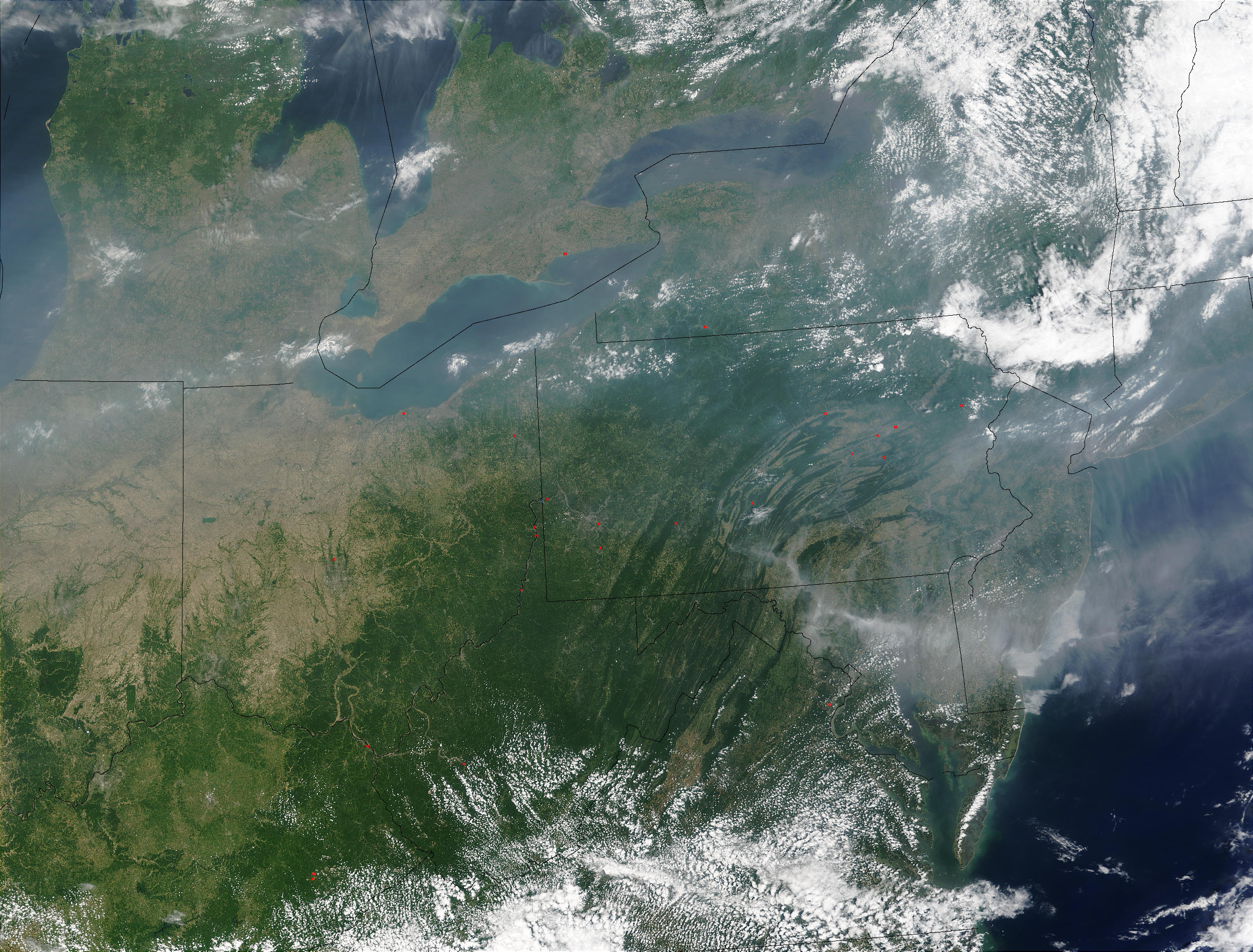 Pollution over the Great Lakes and United States East Coast - related image preview