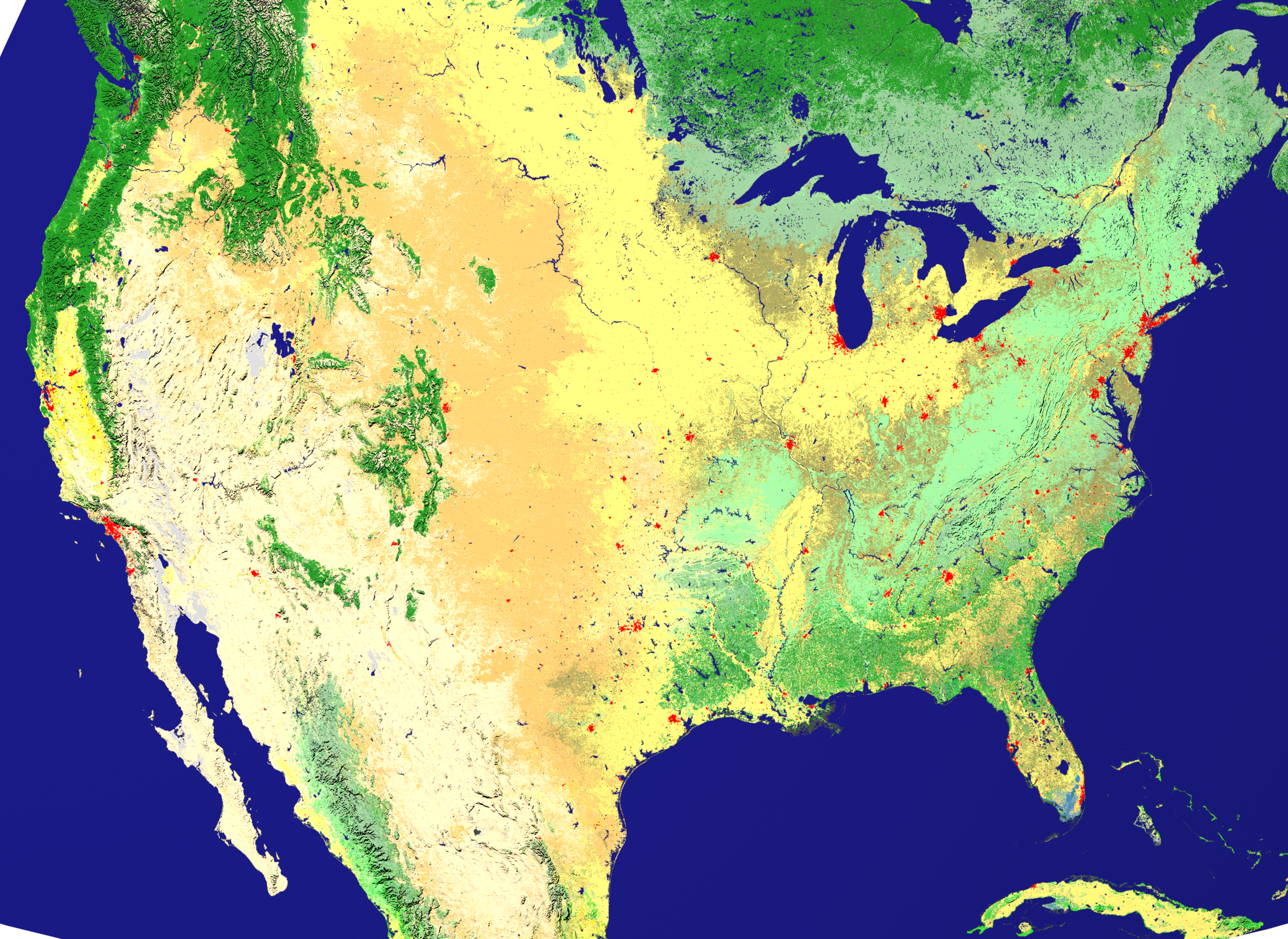 NASA Visible Earth New Land Cover Classification Maps - Land use classification map us