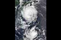Typhoon Fengshen and Tropical Fung-Wong off Japan