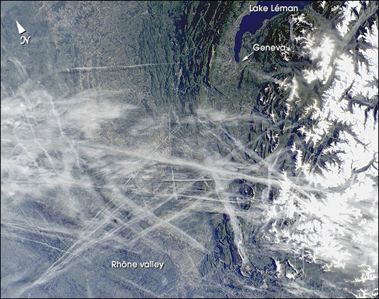 Contrail Web over the Central Rhône Valley, Eastern France - related image preview