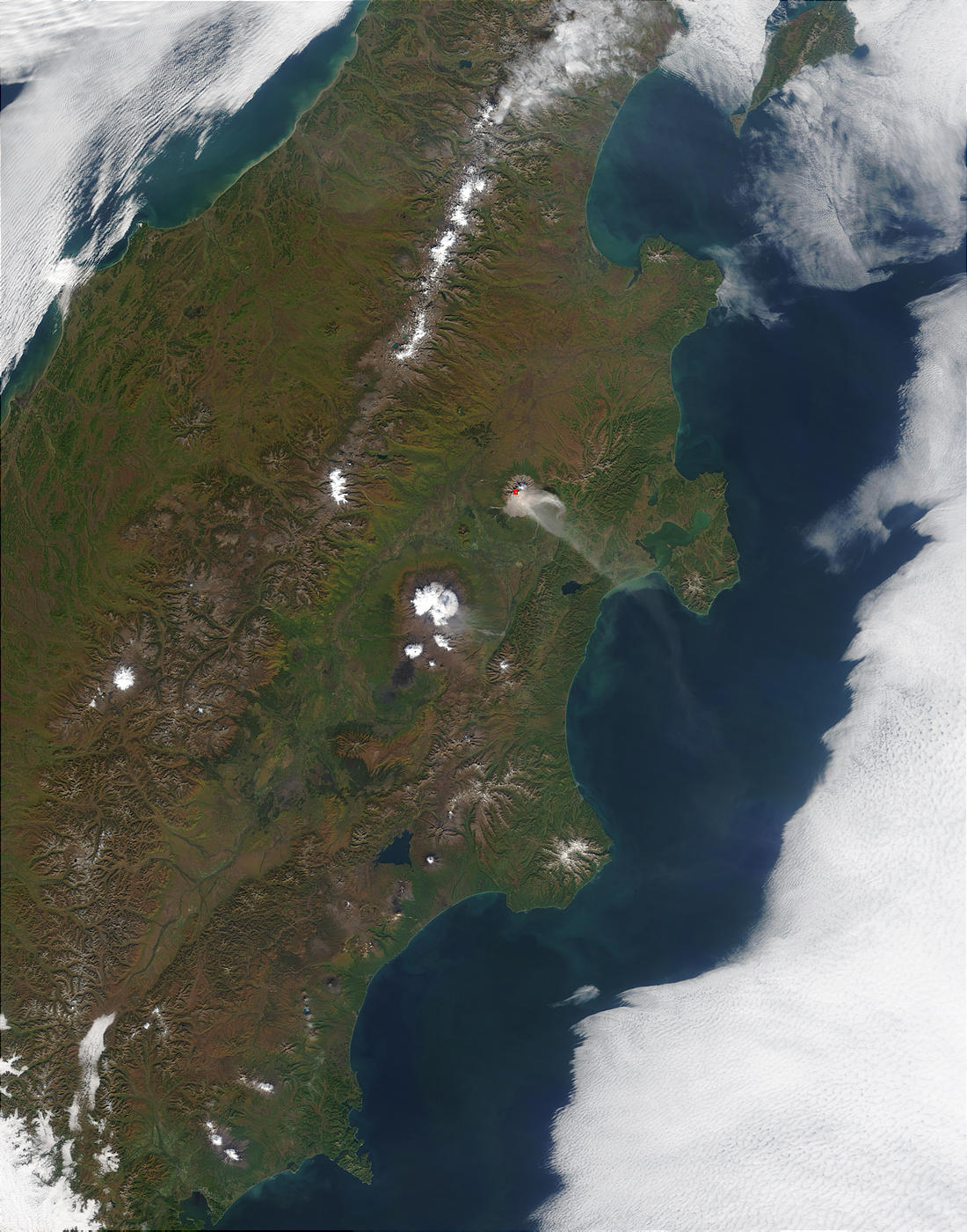 Ash plume rising from Shiveluch Volcano, Kamchatka Peninsula, Eastern Russia - related image preview