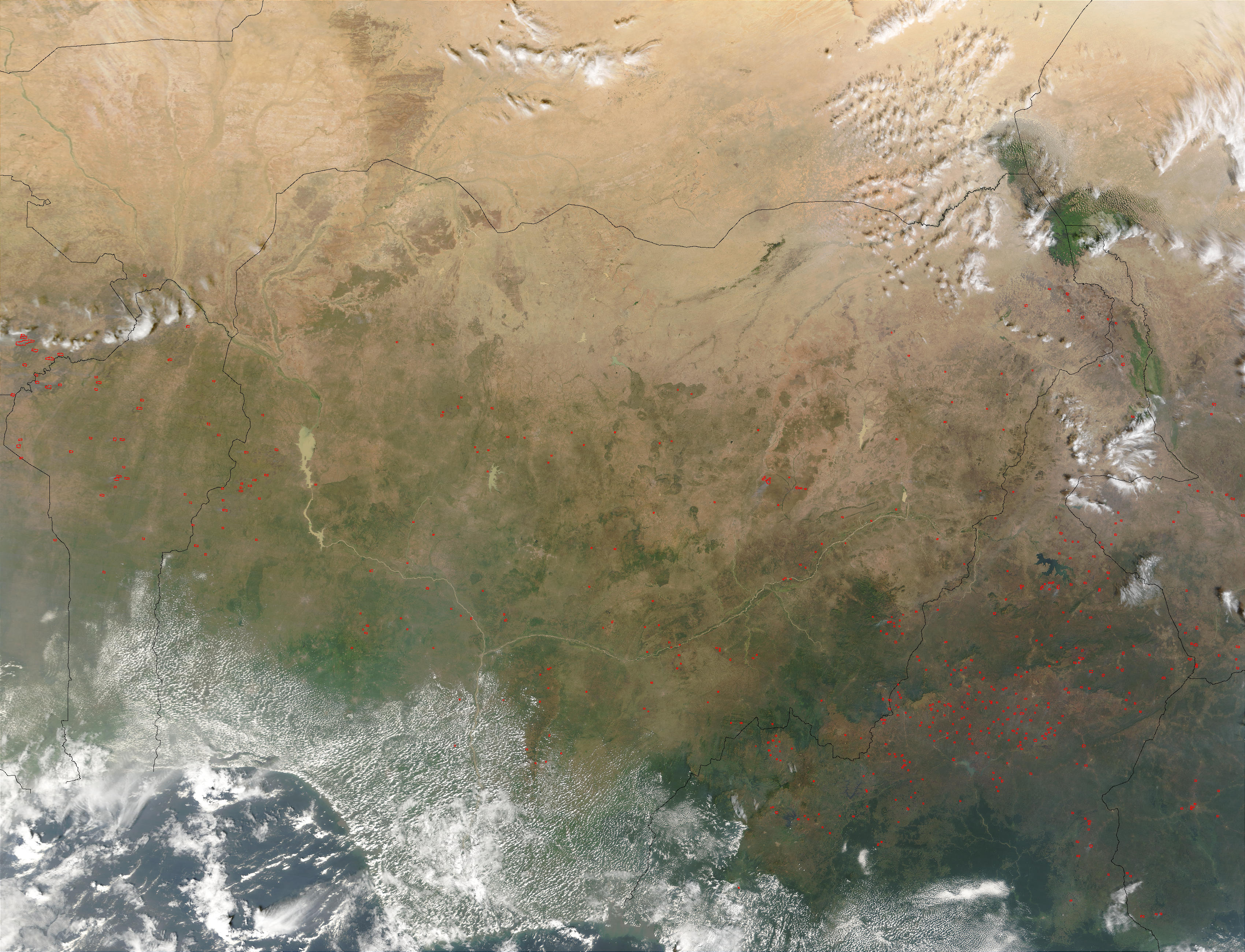 Fires in Central Africa (morning overpass) - related image preview