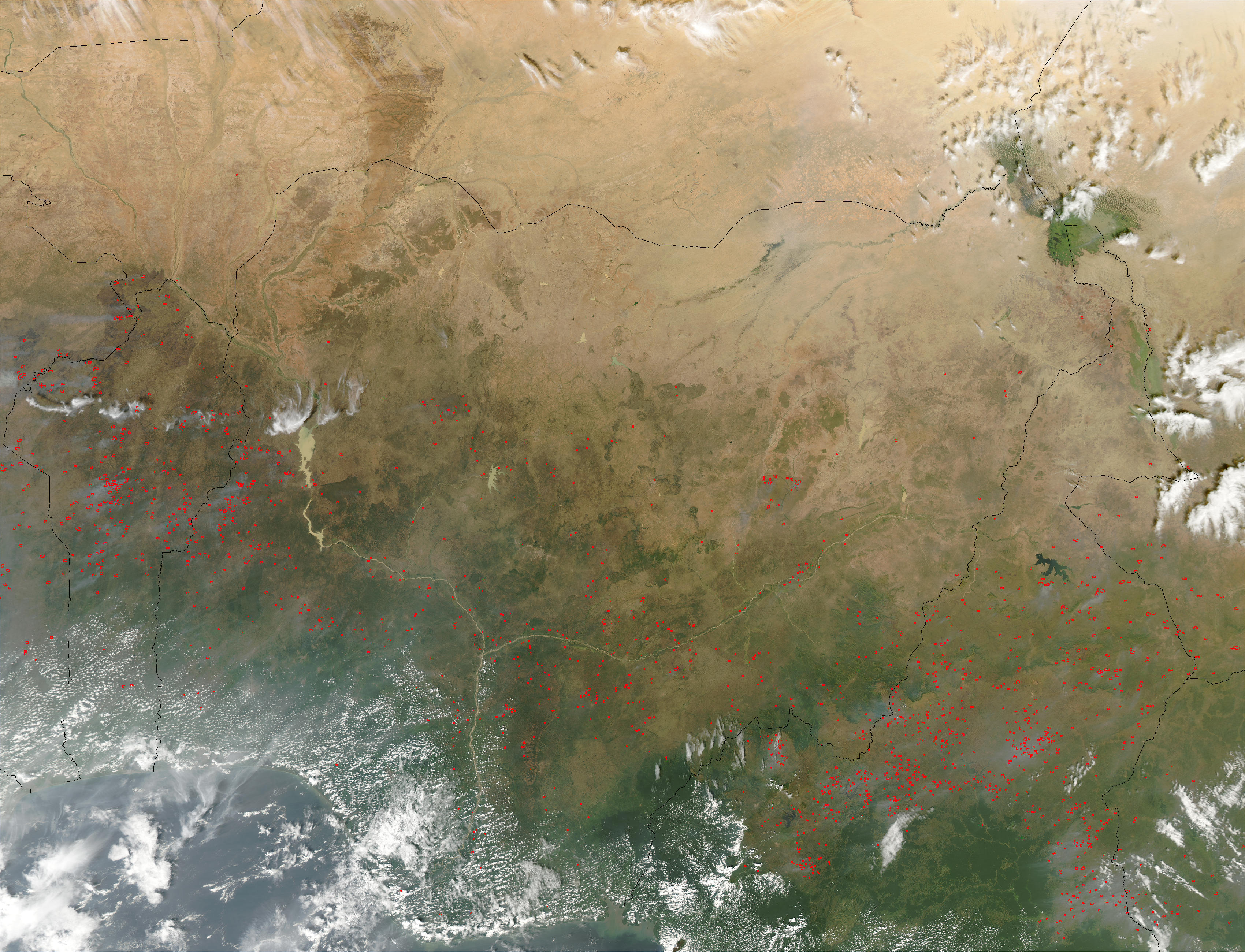Fires in Central Africa (afternoon overpass) - related image preview