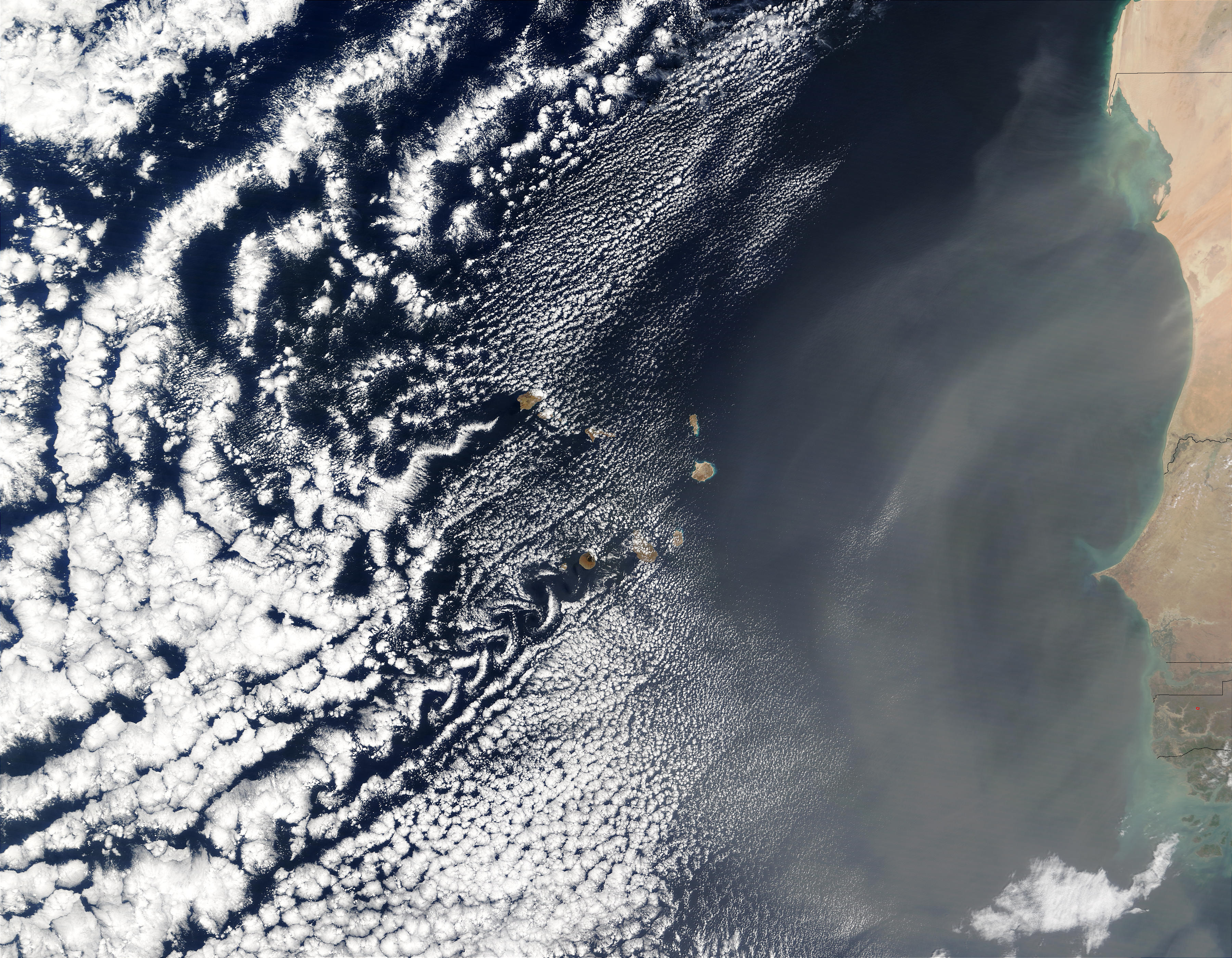 Vortex street and dust off Cape Verde Islands - related image preview