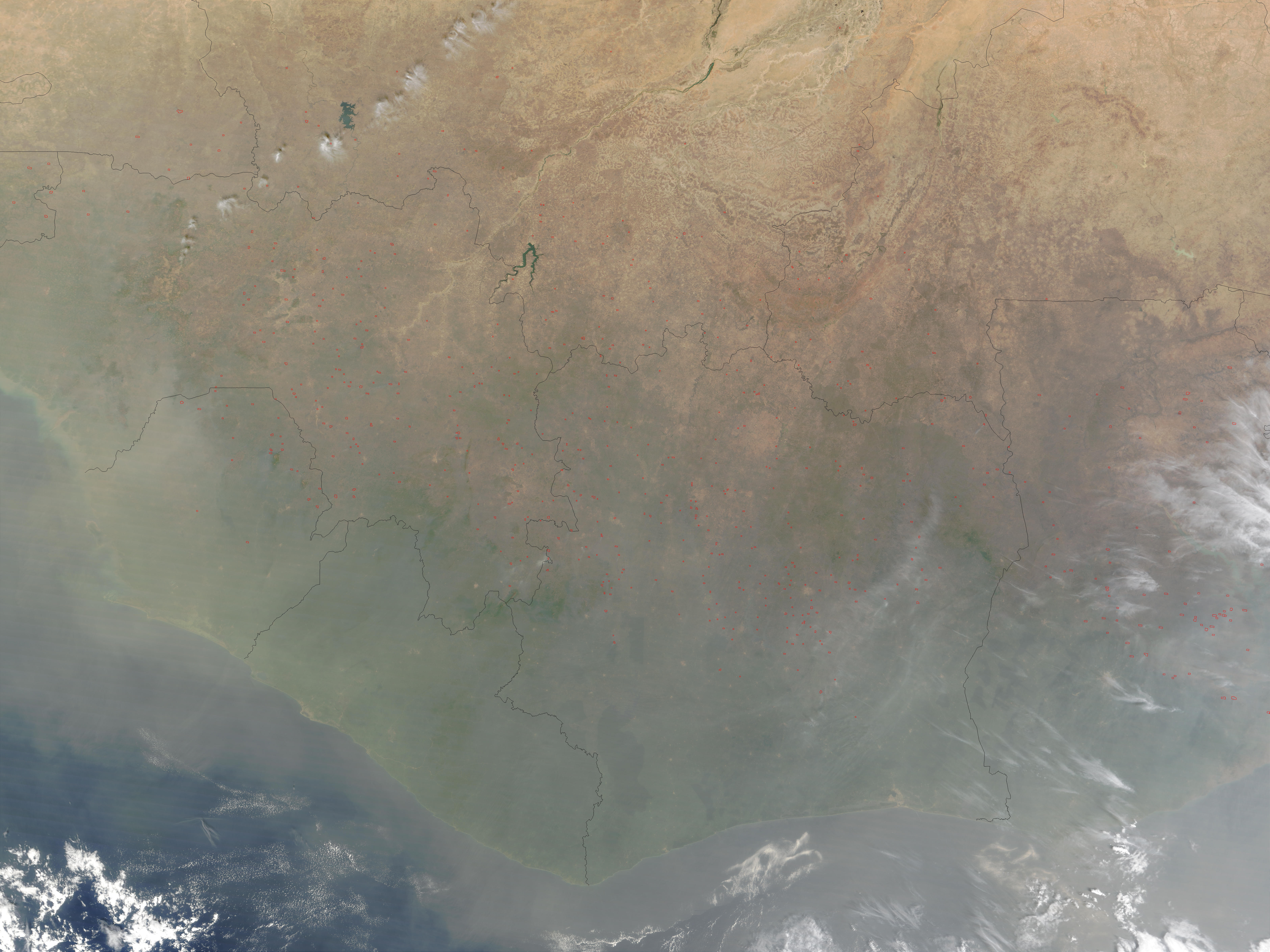 Fires, Saharan dust, and smoke in West Africa - related image preview