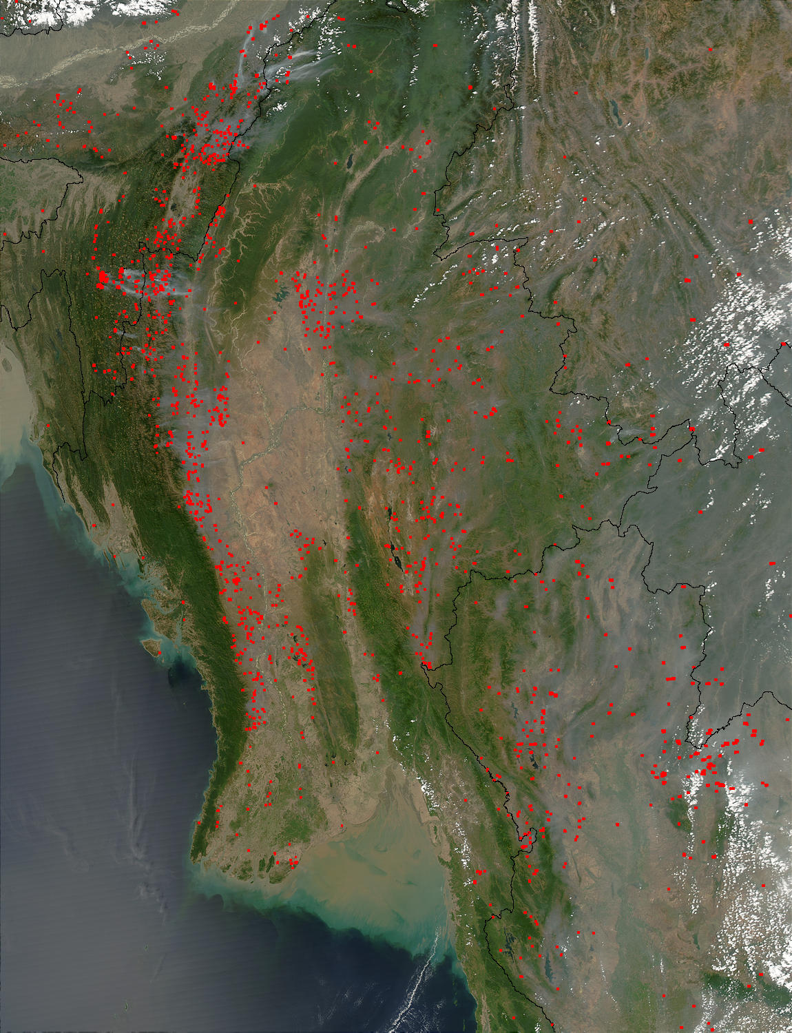 Fires in Southeast Asia (afternoon overpass) - related image preview
