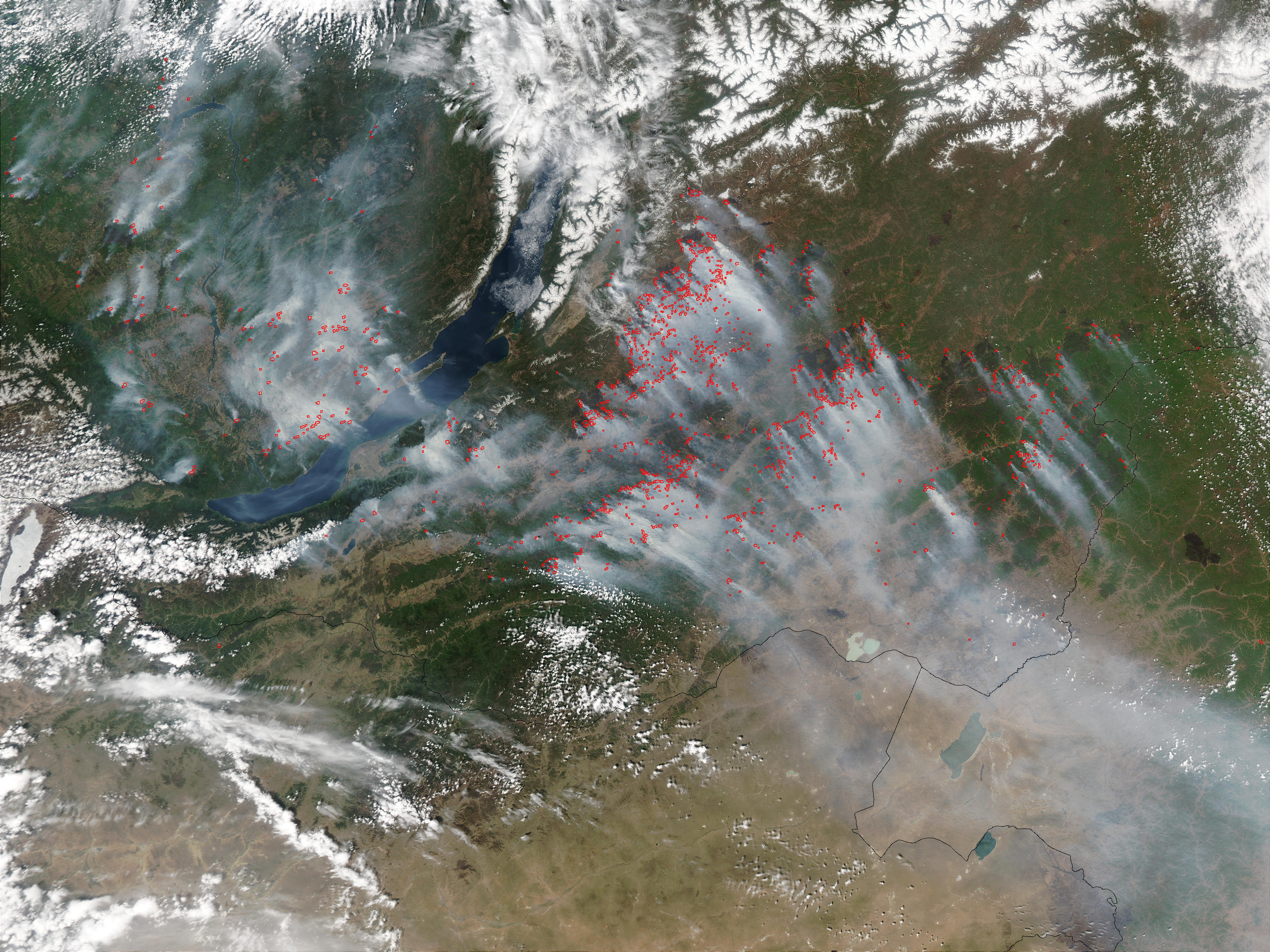 Fires and smoke around Lake Baikal, Russia - related image preview