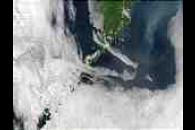 Cloud vortices off Kuril Islands, Eastern Russia