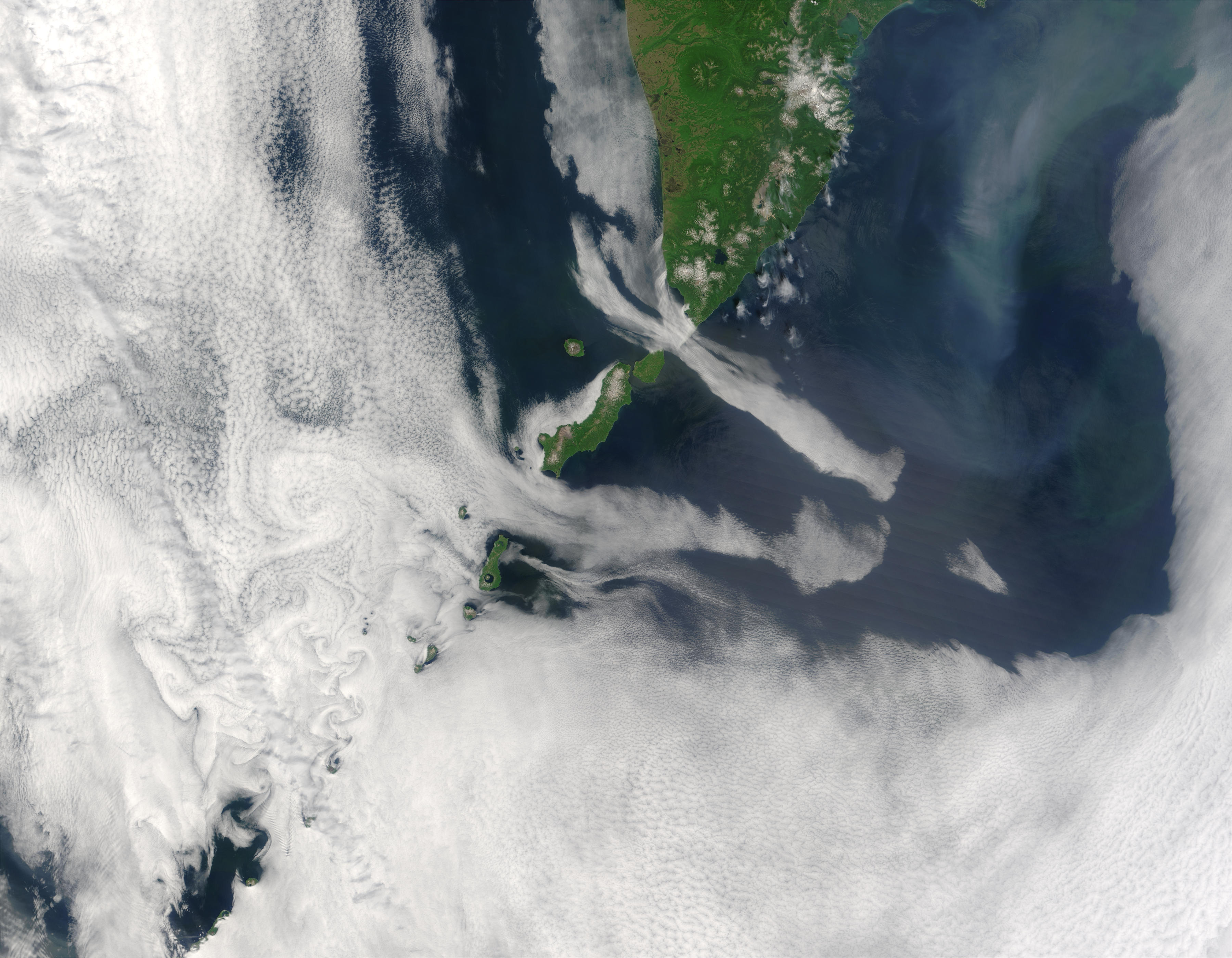 Cloud vortices off Kuril Islands, Eastern Russia - related image preview