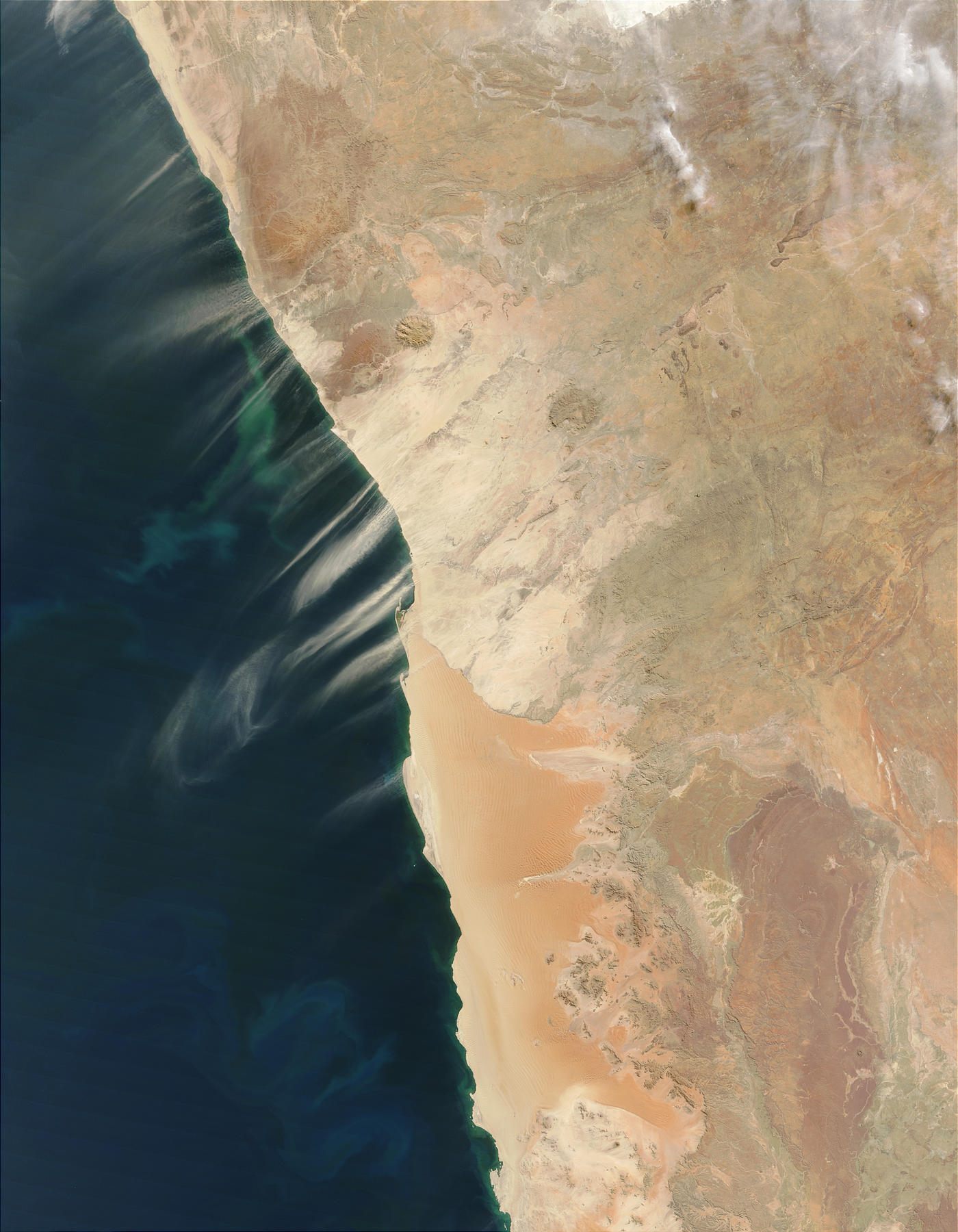 Dust plumes and phytoplankton bloom off Namibia - related image preview