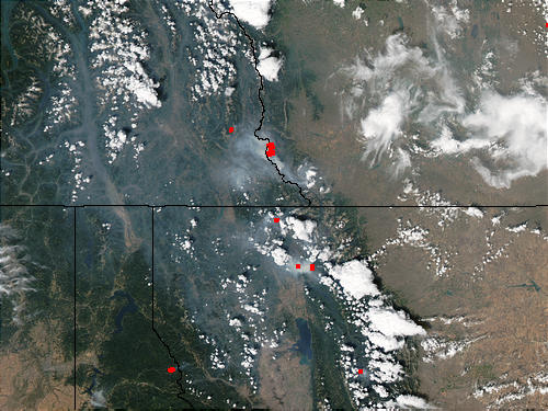 Fires in Montana and Alberta (afternoon overpass) - related image preview
