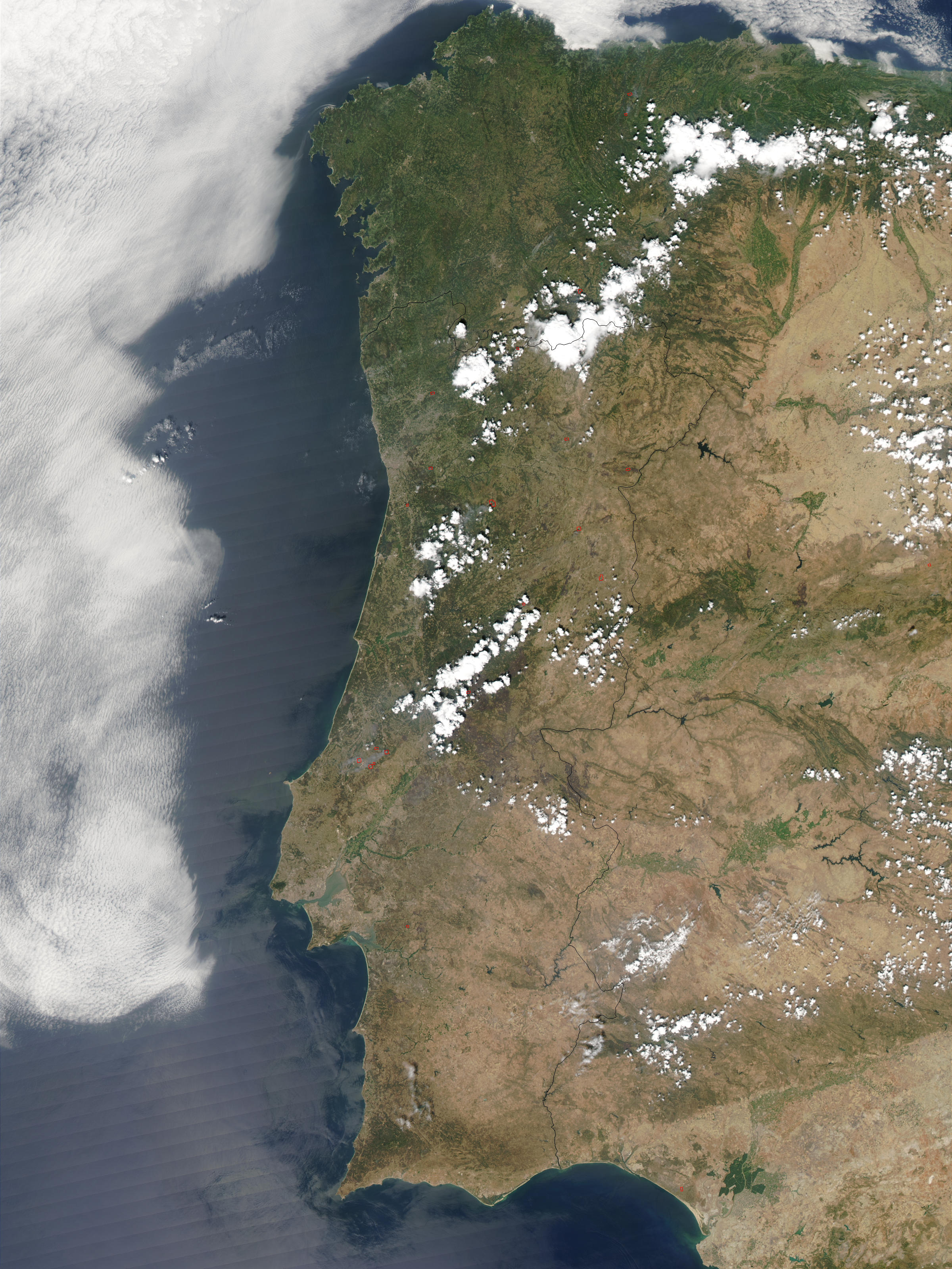 NASA Visible Earth Fires Across Portugal - Portugal map satellite