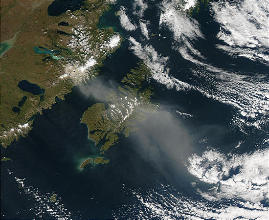 Resuspended volcanic ash over Kodiak Island, Alaska - related image preview