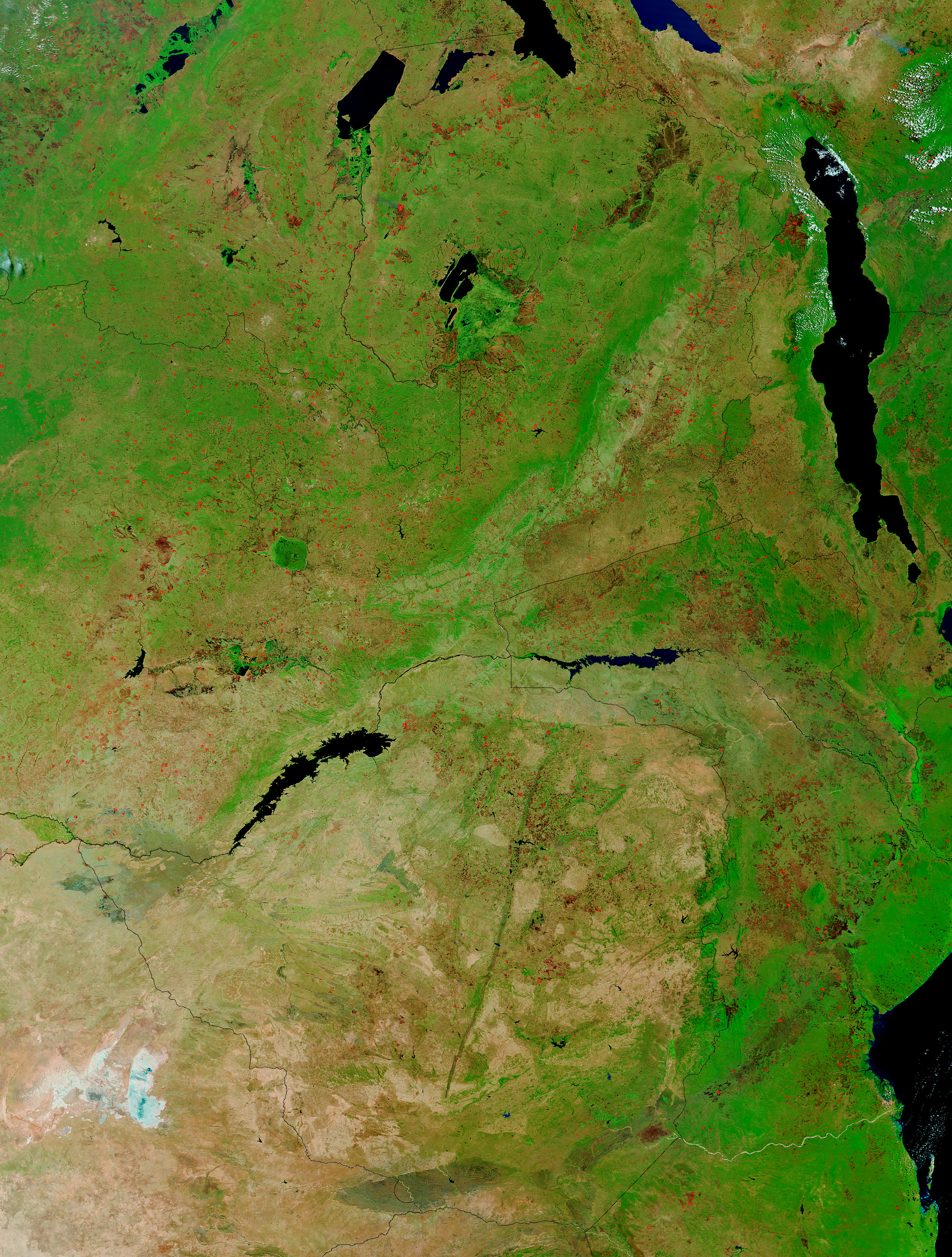 Fires across Zambia (false color) - related image preview
