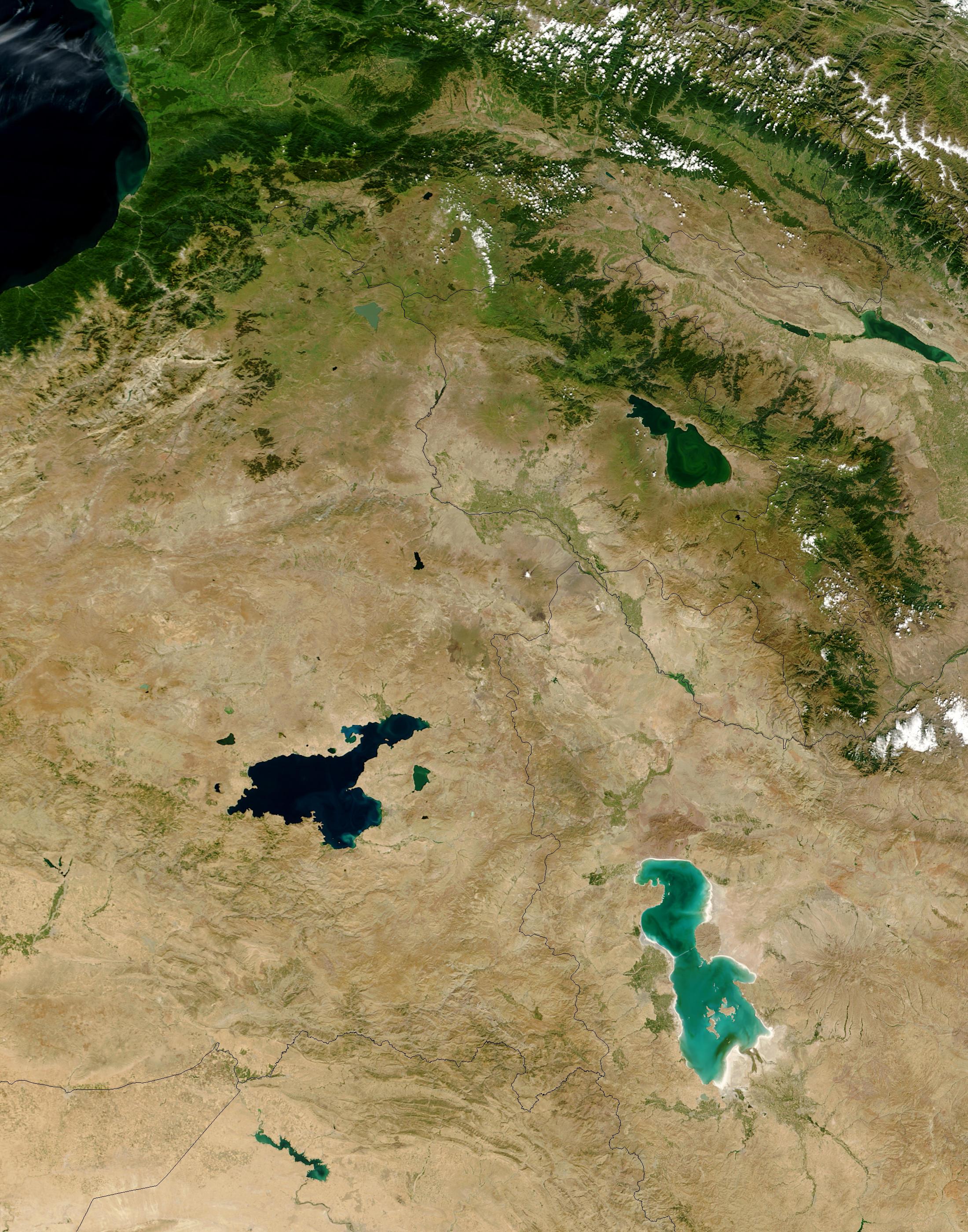NASA Visible Earth Lake Van Turkey and Lake Urmia Iran