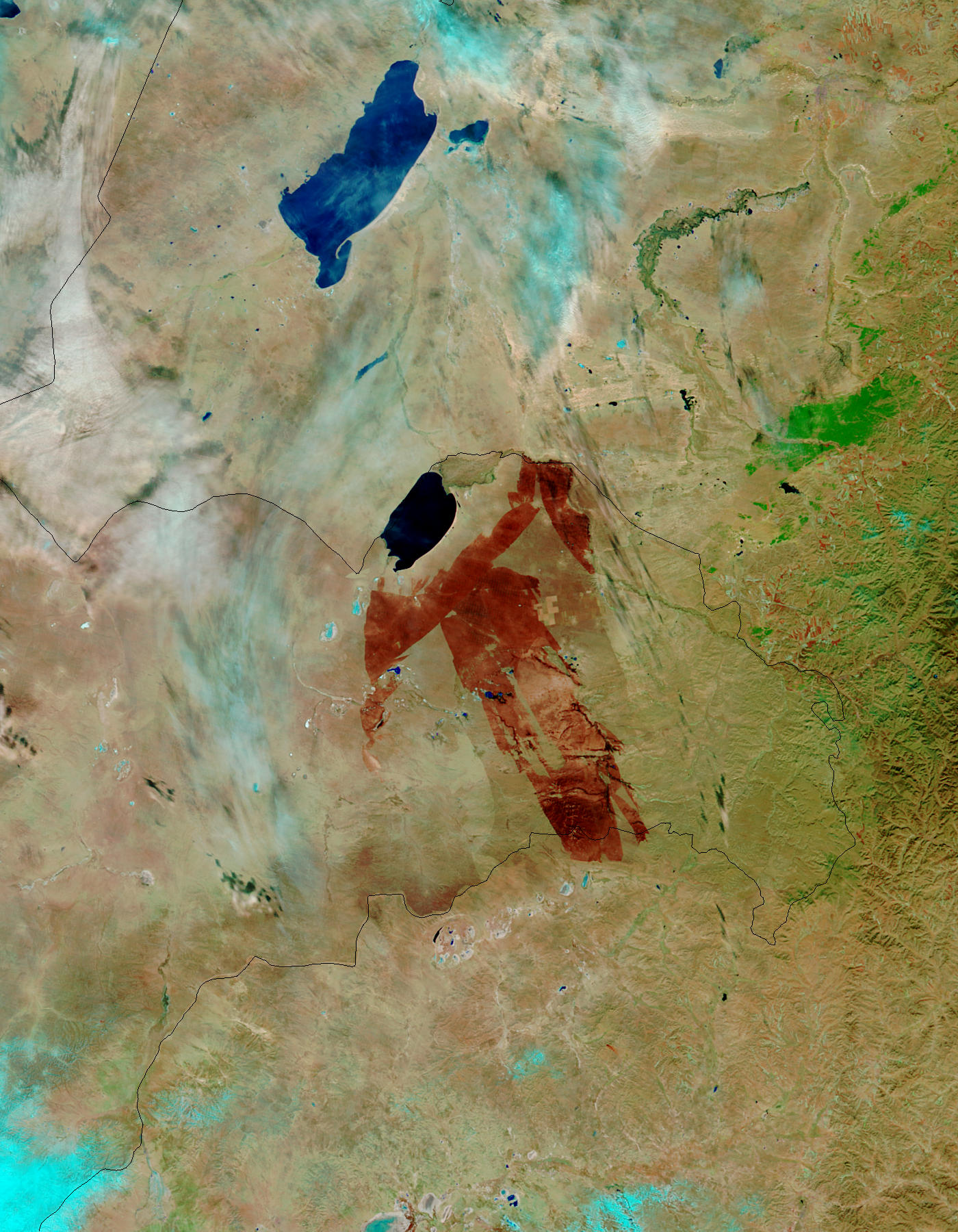 Burn scar in eastern Mongolia (false color) - related image preview