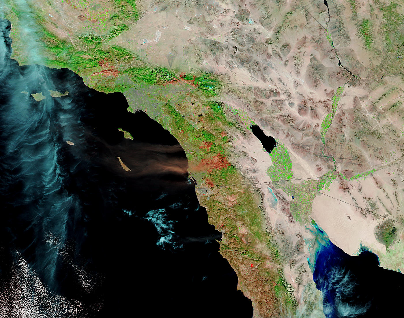 Dust and ash plumes off California - related image preview