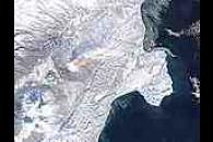 Ash plumes on Kamchatka Peninsula, eastern Russia