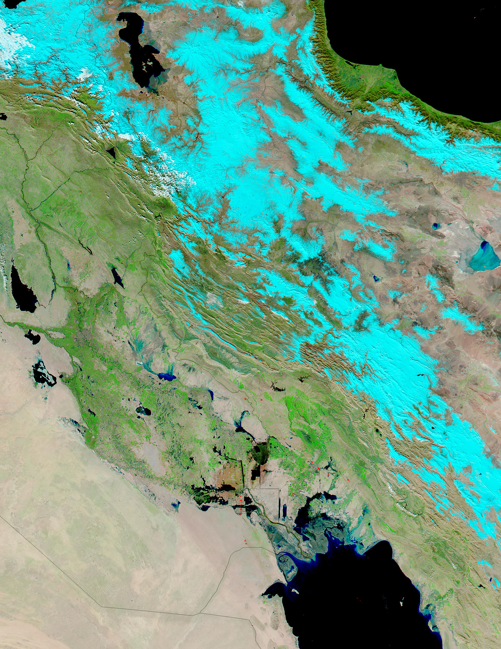 Snow in Iran, floods in Iraq (false color) - related image preview