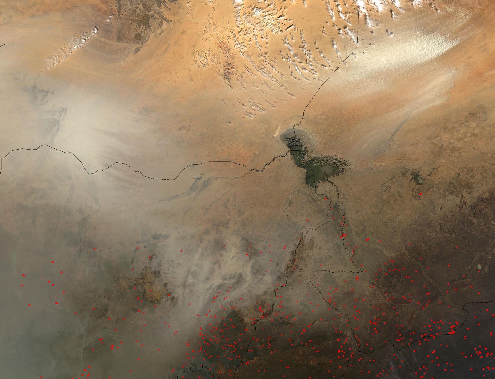 Dust storm in Bodele Depression, Chad (morning overpass) - related image preview