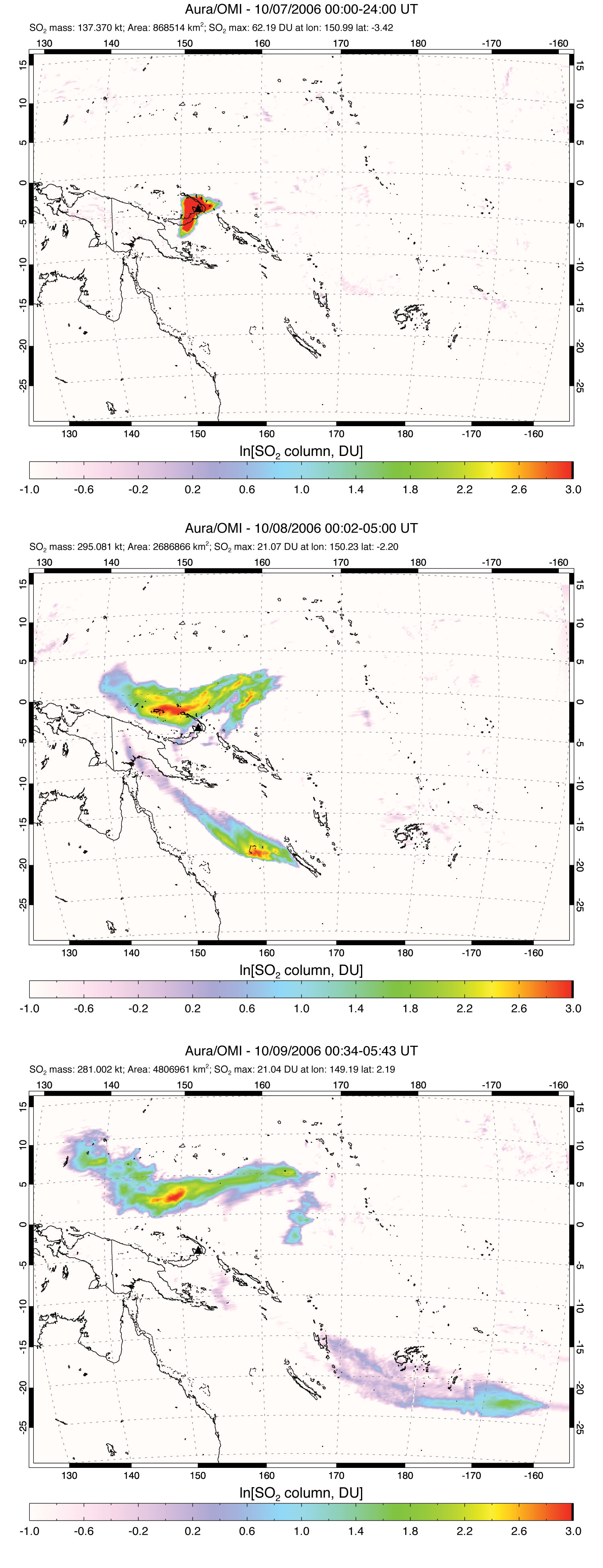 Sulfur Dioxide Cloud from Rabaul Volcano - related image preview