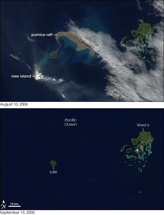 New Island and Pumice Raft in the Tongas