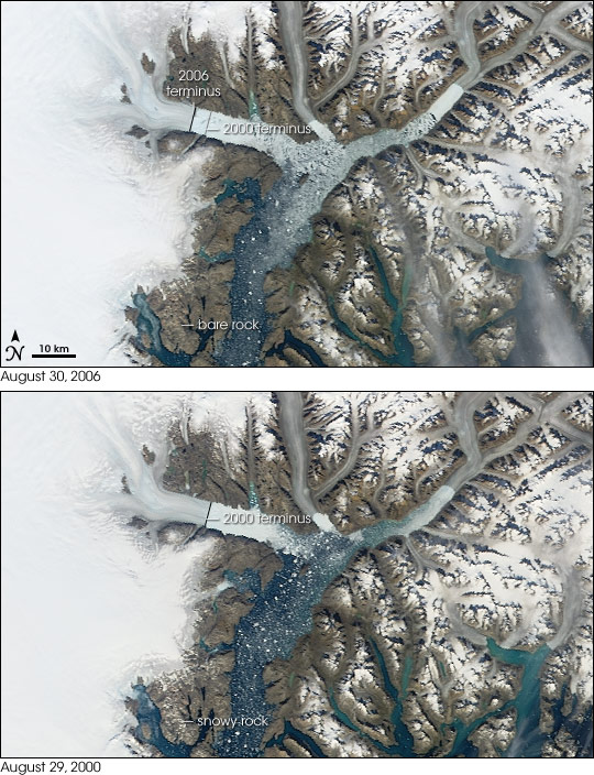 Retreating Ice and Snow in Greenland