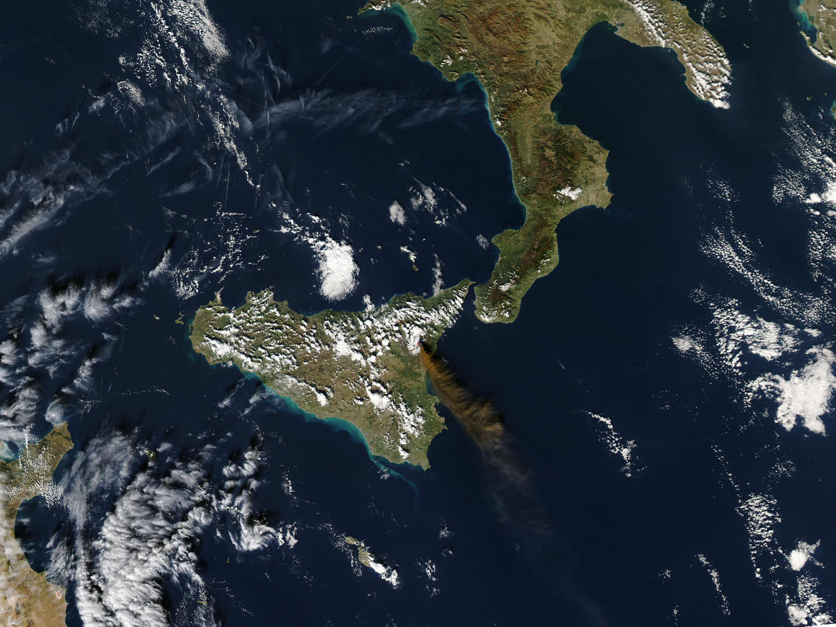Ash Plume From Mount Etna