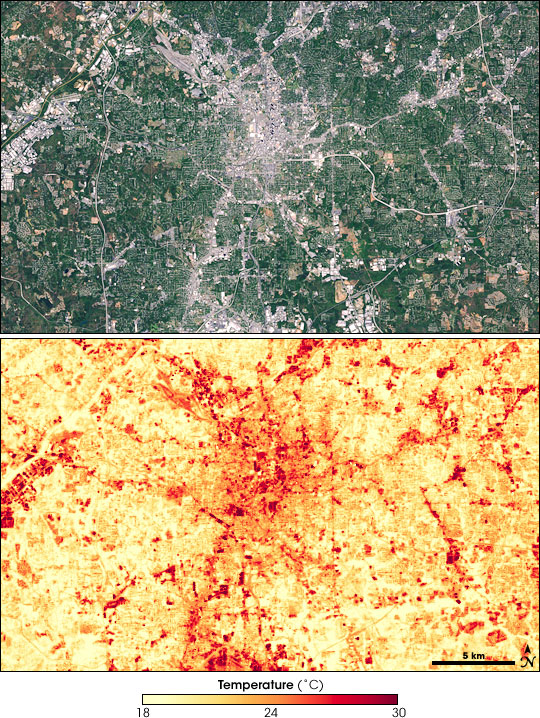 Satellite imagery of Atlanta, Georgie