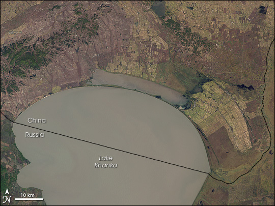 Lake Khanka in  Eastern Russia and China