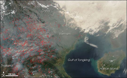 Fires and Thick Smoke Across Southeast Asia