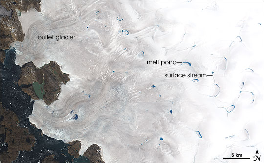 Melt Ponds on Greenland's Ice Cap