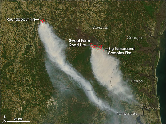 Okefenokee Fire Map.Fires In Southern Georgia