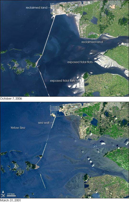 Changes to the Saemangeum Estuary, South Korea