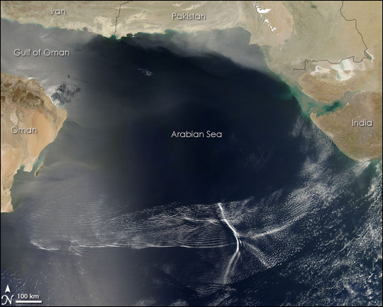 Wave Clouds over the Arabian Sea