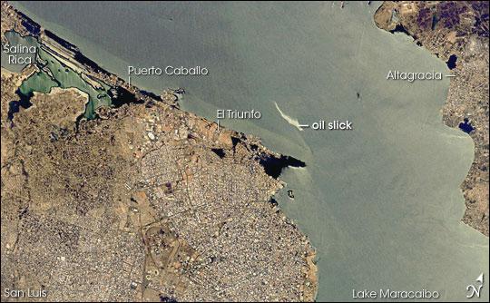 Maracaibo City and Oil Slick, Venezuela