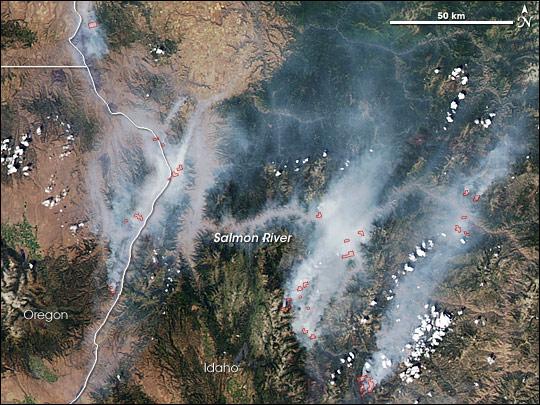 Fires along the Salmon River, Idaho