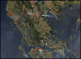 Fires on the Balkan Peninsula