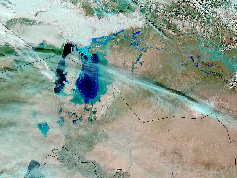 Floods along the Syr Darya River, Kazakhstan (false color) - related image preview