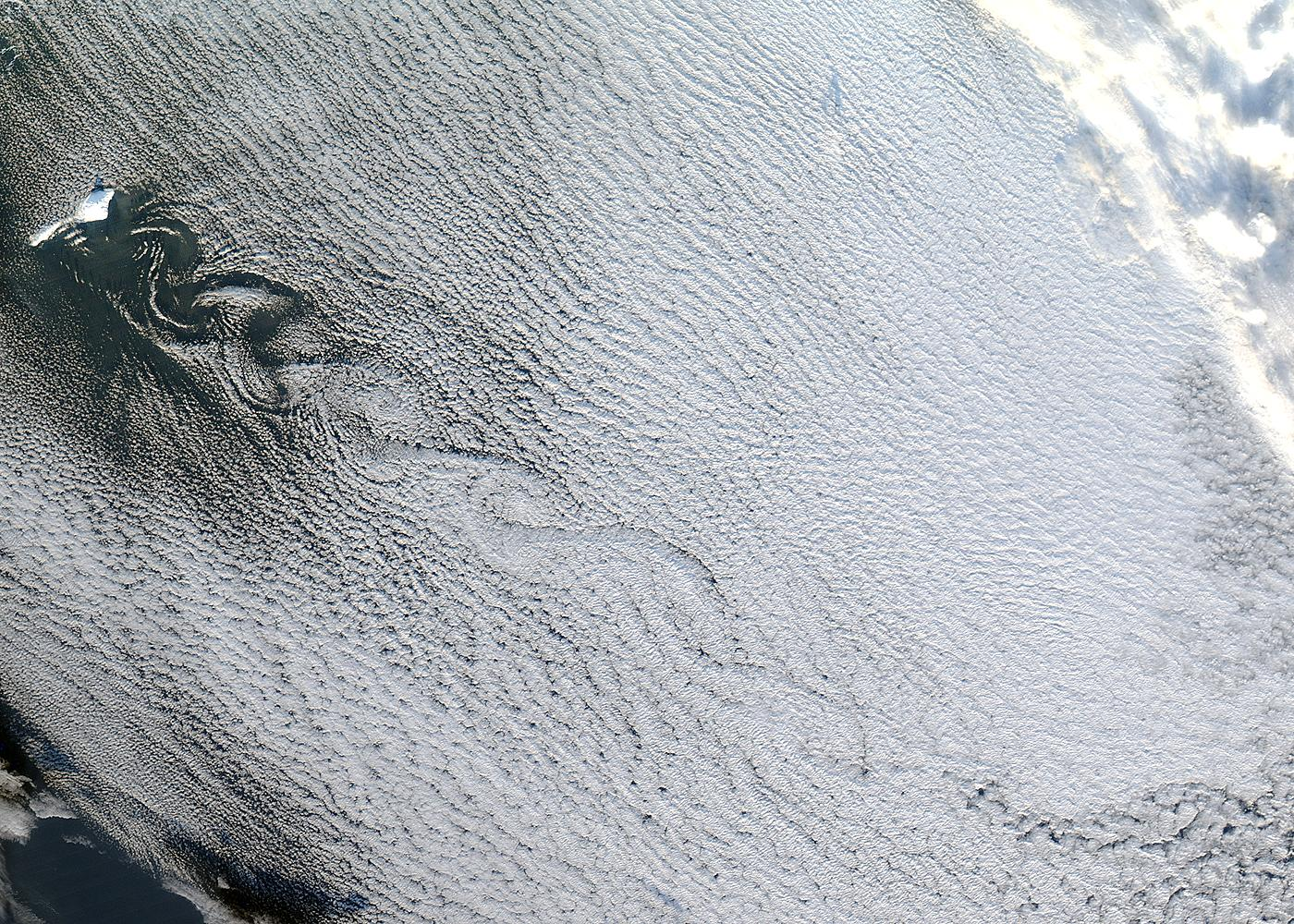 Cloud vortices off Jan Mayen Island, Greenland Sea - related image preview